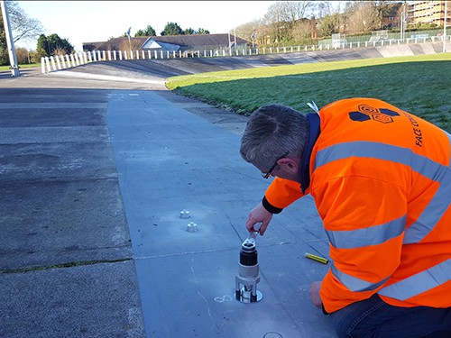 Adhesion / pull off test being carried out on site